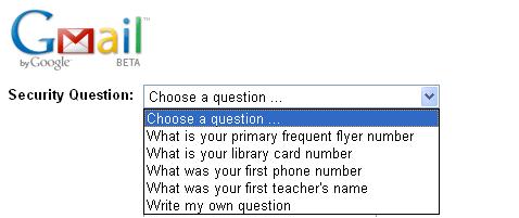 Google Ca si parolele, intrebarile de securitate nu sunt foarte sigure