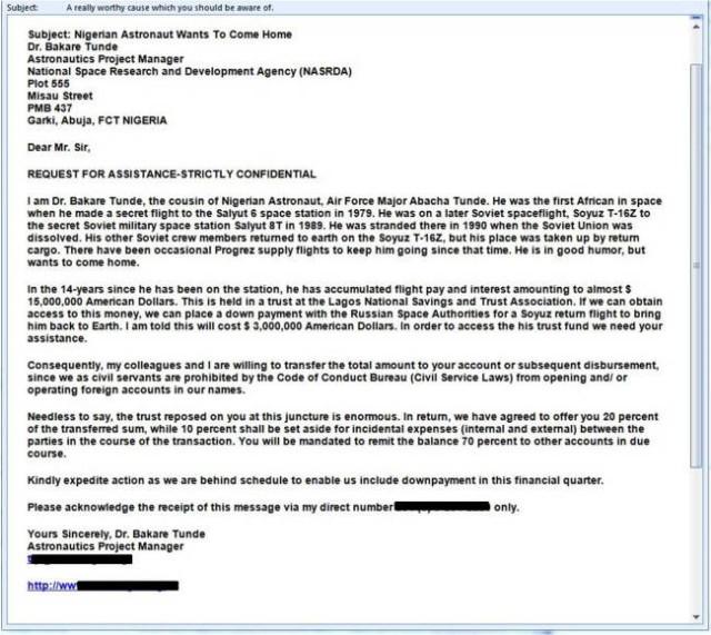 Apar noi emailuri cu inselatorii Printul Nigerian