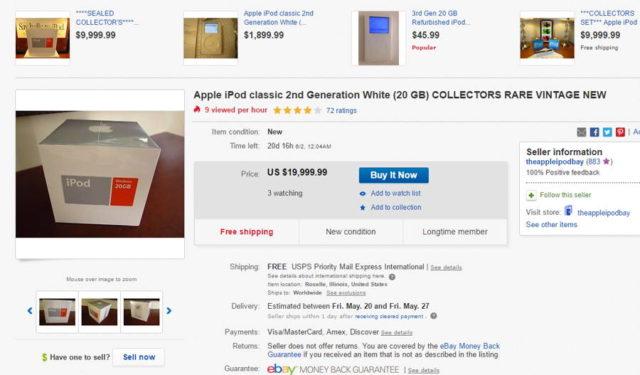 Un iPod vechi este in prezent de vanzare pentru 20 000 de dolari pe eBay