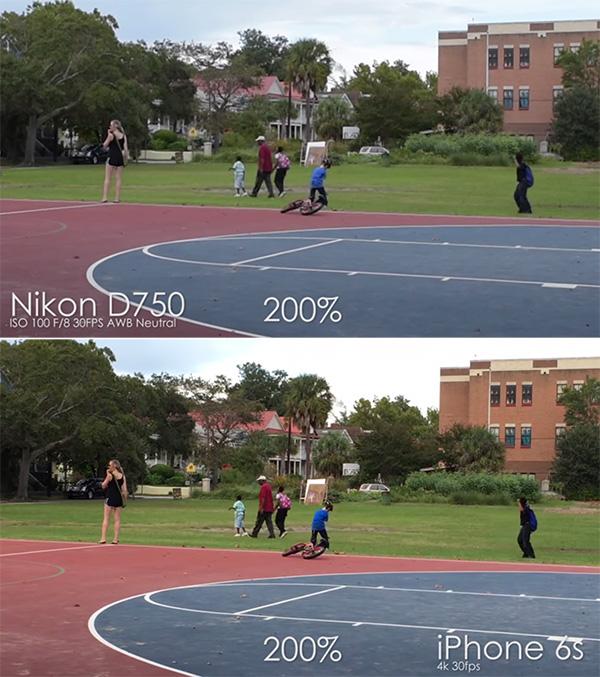 iPhone 6s vs Nikon D750 intr-un test video 4K