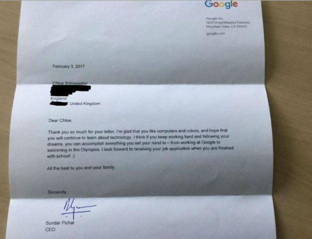 O fetita de 7 ani a scris o scrisoare pentru Google in care a cerut un job. Iata cum a raspuns CEO-ul