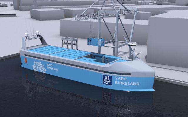 O nava maritima cargo autonoma si electrica este construita in Norvegia