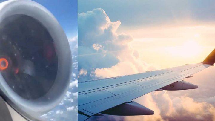 Vezi defectiunea neobisnuita a unui motor de avion in zbor